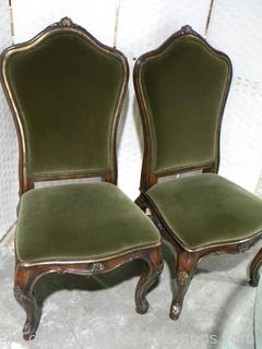 Pair of Green Henredon Arabesque Upholstered Side Chairs A