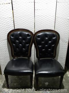 Henredon Pair of Executive Dining Side Chairs C