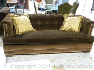 Drexel Heritage Brown Velvet Sofa A