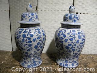 Set of Two Huge Blue and White Urns
