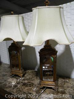 Pair of Gilded, Hand-Painted, Mirrored Lamps with Curved Shades