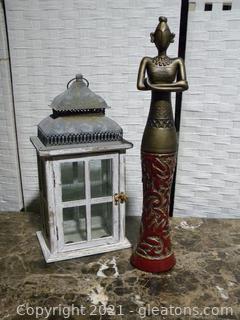 Feminine Statue and Antiqued Lantern