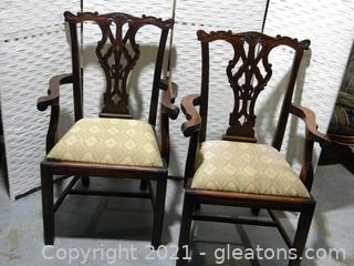 Pair of Ornate Chippendale Style Dining Arm Chairs
