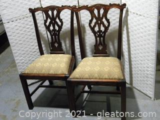 Pair of Ornate Chippendale Style Dining Side Chairs A