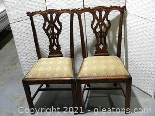 Pair of Ornate Chippendale Style Dining Side Chairs B