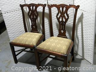 Pair of Ornate Chippendale Style Dining Side Chairs C