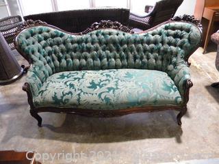 Rich Green Brocade Victorian Settee