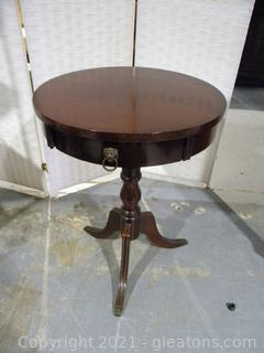 Drum Pedestal Table With Brass Capped Claw Feet