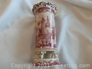 Cranberry Porcelain Vase with English Scene
