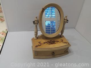 Vintage jewelry vanity box with mirror and drawer