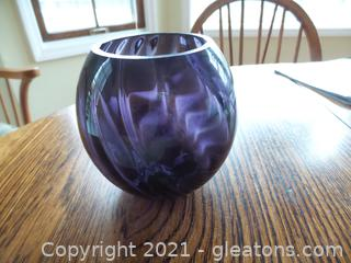 PURPLE BLOWN GLASS ROSE BOWL VASE