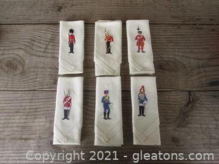 Six Embroidered Linen Napkins of European Soldiers 11 3/4 inches Square