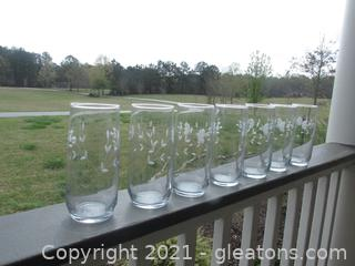 7 Large Vintage Ice Tea Coolers Princess House Crystal Glasses  / 6 7/8 inches tall /  holds 22 ozs Pattern Etched Heritage