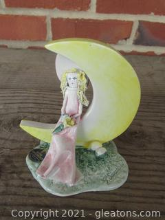 Nuova Capodimonte Girl Waiting on a Crescent Moon / Signed P. Savastano