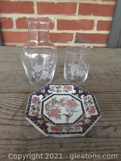 Vintage Etched Crystal Glass Water Carafe & Tumbler Bedside Vanity Tumble Up with Trinket Dish