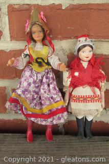 2 Vintage Collectible Souvenir Dolls Dressed in Cultural & National Costume