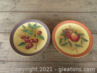 Decoration Only Plates From Toyo Cherries on Stem and Apples on Stem