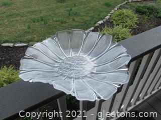 "Large Mikasa ""Sunflower Frost"" Art Glass Platter"
