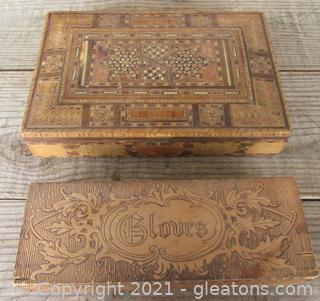 Two Old Wooden Boxes / One Is for Gloves and The Other One Has Wood Inlay on the top and On the Sides / Both Appear to be handmade