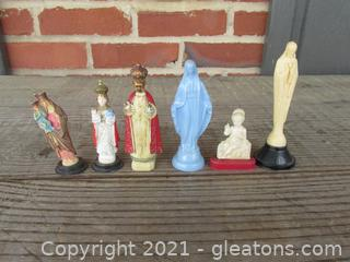 Six Religious Catholic Plastic Figures Lot A
