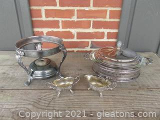 Silver Plated Burner Stand / Sugar & Creamer / Glass Casserole Covered Lid and Stand Silver Plate