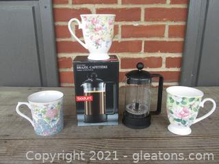 Bodum French Press Brazil Coffee Maker and 3 Bone China Coffee Cups