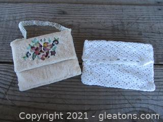 2 Clutch Bags / One is Beaded with Embroidered  / Light White Crochet Bag