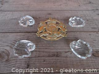 Virginia Metalcrafters Kings Arms Trivet 1953 4 tapered swirl Candle Holders