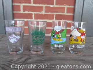 Four Glasses / 2 are Camp Snoopy Collection From McDonald's /  Sweet Water Brewing Company / Moose's Tooth Brewing Company Alaska