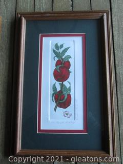 """Listed Artist Barbie Tidwell Signed and Numbered Etching """"An Apple A Day""""  234/1200"""