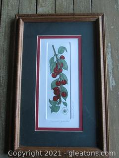 """Listed Artist Barbie Tidwell Signed and Numbered Etching """"Cherries Jubilee"""" 287/1200"""