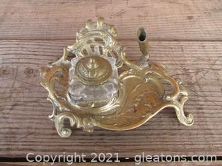 Vintage Brass & Glass Ink Well on Tray with Pen Holder
