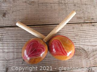Painted Gourd Maracas with Wooden Handles