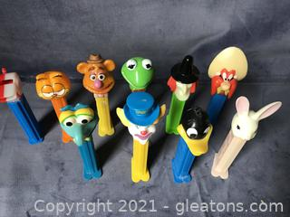 10 vintage Pez dispensers