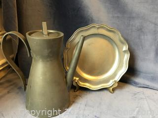 Pewter plate and tea / coffee pot