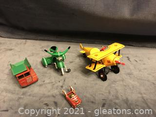 Mini and miniature airplane, tricycle ornaments, metal truck made in England