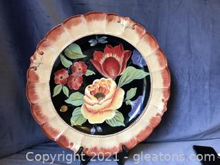 "Pamela Gladding Black Tapestry 15 1/2"" plate"