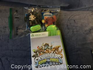 X Box 360 Skylanders and 2 game pieces