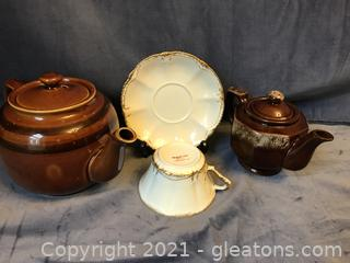 Limoges cup and saucer 2 brown tea pots