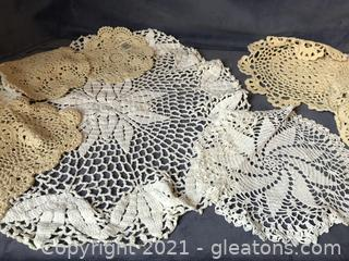 14 crocheted doilies