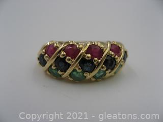 14kt Yellow Gold Ruby, Sapphire and Emerald Ring