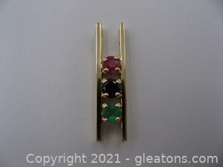 14kt Yellow Gold Ruby, Sapphire Emerald Pendant