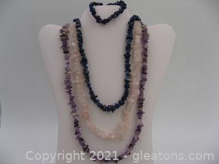Genuine Amethyst, Rose Quartz and Sodalite Jewelry Lot