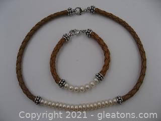 Sterling Silver Freshwater Pearl and Braided Leather Necklace and Bracelet Set