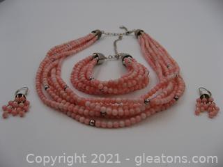 Jay King Designer Pink Coral Necklace, Bracelet and Earring Set