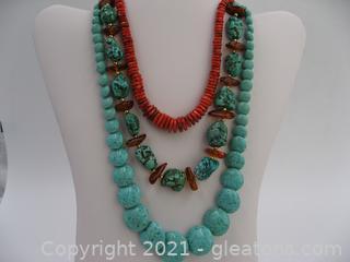 3 Gemstone Beaded Necklace Lot