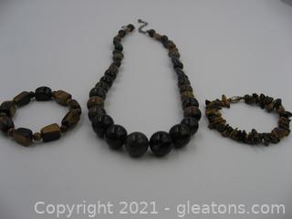 Jay King Designer Agate Necklace with 2 Tigers Eye Bracelets