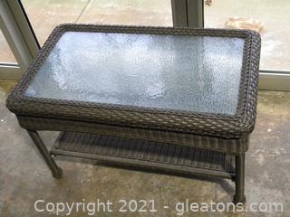 Glass Topped Wicker Table