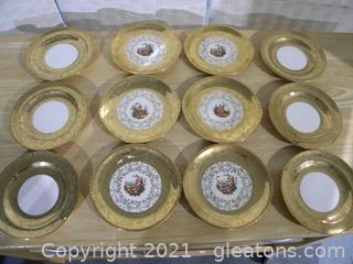 Set of Royal China Plates 22K Gold