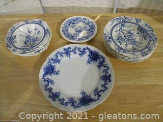 Blue and White China Lot Alfred Meakin Medway and Old Salem Spode